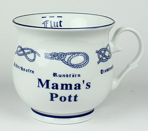 Buddel-Bini Mama´s Pott mit Seemannsknoten bauchig Kaffeebecher Kaffeetasse Kaffee