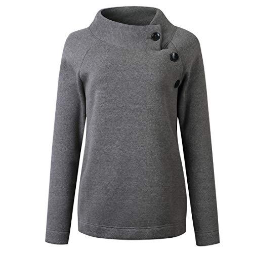 Damen Stehkragen Sweatshirt Langarm Tasten Diagonale Schulter Winter Locker und bequem Sport Mode Casual Daily Wear Einfarbig All-Match Streetwear S