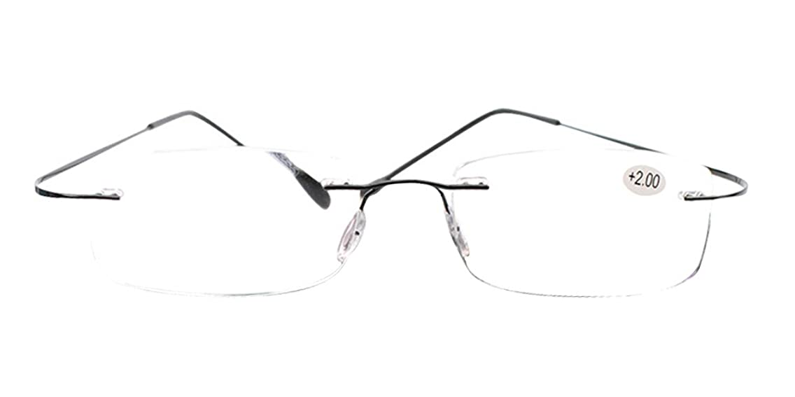 SOOLALA High End Lightweight Titanium Stainless Steel Rimless Reading Glasses
