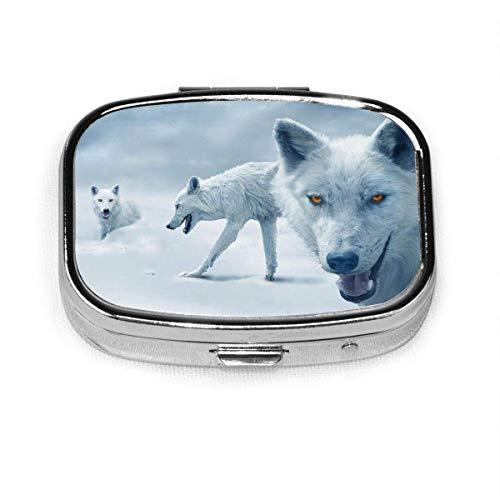 Caja de pastillas cuadrada de moda Bolsa de almacenamiento de medicinas Bolsillo o pastillero fácil de usar Bolsa de medicina Bolsa de almacenamiento Arctic-Wolves
