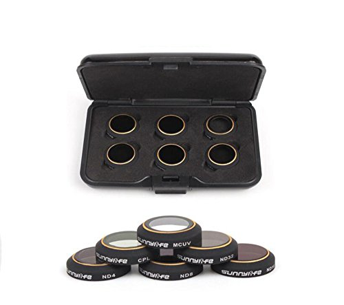Kingwon Kamera Filter Zubehör 6 Stück für DJI MAVIC Pro Kamera Objektiv Neutral Density Filter (ND4+ND8+ND16+ND32+CPL+MCUV)