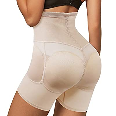 Womens Butt Lifter Tummy Control Panties High Waist Hip Padded Panty Body Shaper Thigh Slimmer Shapewear Beige