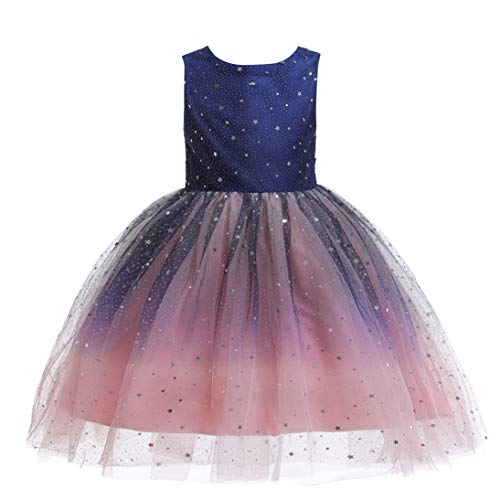 Glamulice Princess Sparkle Tulle Dress Flower Girls Navy Blush Pink Ombre Holiday Lace Bridesmaid Dresses for Pageant Wedding Birthday Party Prom Ball Gown 9-10Y Kids Costume Dance Evening Party Gown