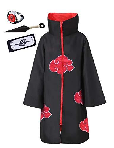 Anime Naruto Akatsuki/Uchiha Itachi Cosplay Halloween Weihnachten Party Kostüm Naruto Akatsuki Umhang Mantel Akatsukikostüm Jacke mit Stirnband und Ring für Herren Männer Kinder Erwachsene (09, S)