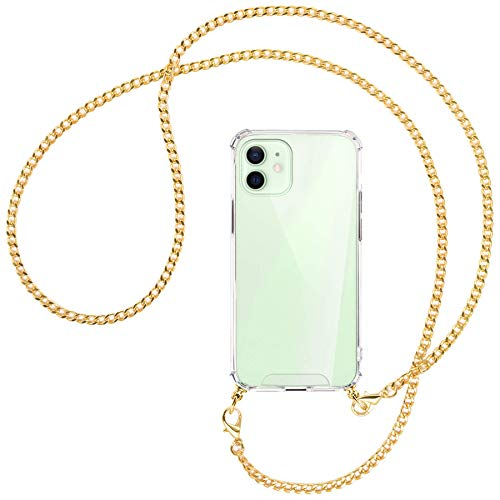 mtb more energy Collar Smartphone para Apple iPhone 12, 12 Pro (6.1'') - Cadena de Metal (Oro) - Funda Protectora ponible - Carcasa Anti Shock con Cuerda Correa