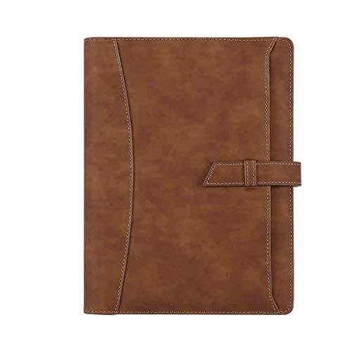 KYAM Libreta Cuaderno Agenda Libreta A5 De Tapa Dura Cuaderno De Cuero, Papel PU Diario Reemplazable con Bolsillo, Cierre Elástico, Titular De La Pluma, Marcador Diarios para Escribir (Color : Brown)