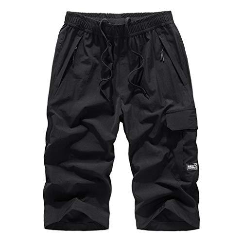 Bermuda Homme Confortable Style Taille Elastique Corde De Serrage, Shorts de Bain Homme Maillot Eté Sport Grande Taille Respirant Séchage Rapide Transpirant Large(L-8XL) (5XL, Noir)