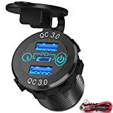 60W USB C Car Charger Socket, Ouffun Aluminum Metal 12V/24V Multiple USB Outlet 30W PD USB-C & Two QC3.0 Ports with Power Switch Fast Car Adapter for Car, Boat, Marine, Truck, Golf, RV, Motorcycle