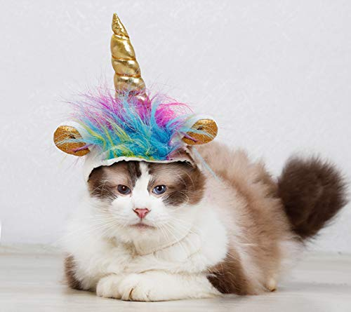 Costume for Cats, Horn Headdress Wig Pet Dress Up Party