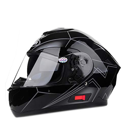 Casco de Motocicleta de Cara Completa Antivaho Visera Solar Carreras de Doble Lente Casco para Moto Black Gray XL