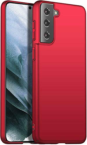 Eabhulie Galaxy S21+ 5G Funda, Ultra Delgado Ligero Dura Mate PC Caso Anti-rasguño Antideslizante Carcasa para Samsung Galaxy S21 Plus 5G Rojo
