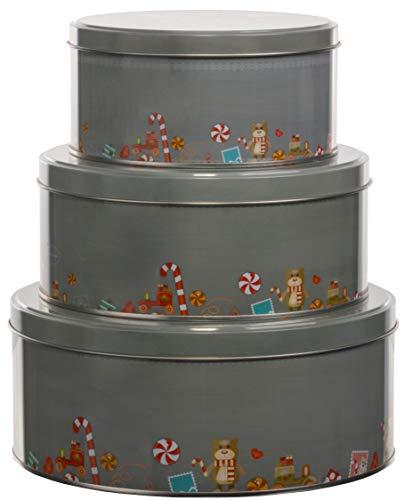 Brandsseller 3er Set Keksdose Frohe Weihnachten Weihnachtsdose Plätzchendose Gebäckdose Metall Hellgrau