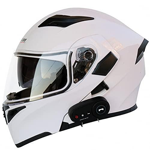 WYNBB Casco Modular Abatible Casco De Motocicleta con Auricular Bluetooth Cascos De Choque De Carreras De Cara Completa De Doble Visera Aprobado por ECE,Z2,L