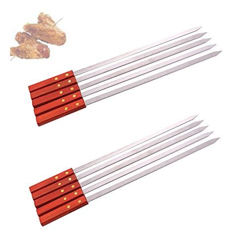 Brochetas planas de metal de 2 cm de ancho, para asar a la parrilla Brochetas de brochetas de metal reutilizables para barbacoa, cócteles, brochetas, artículos esenciales para fiestas (10PCS)