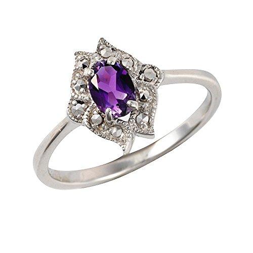 Esse Marcasite Ring Sterling-Silber 925 rhodiniert Amethyst Jugendstil, violett, Large