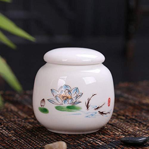 Suikerkommen met deksels Mini keramische opbergdozen met deksel zout thee voedsel containers thuis keuken benodigdheden witte bloem patroon fles dozen met deksels Pingailianshuo