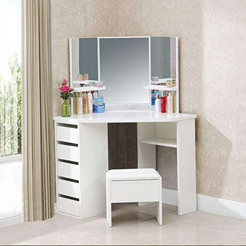 TUKAILAI White Corner Curved Dressing Table Makeup Desk with 5 Drawer 3 Mirror and Stool Makeup Vanity Table Bedroom Furniture with 25MM Thick Gloss Table Top