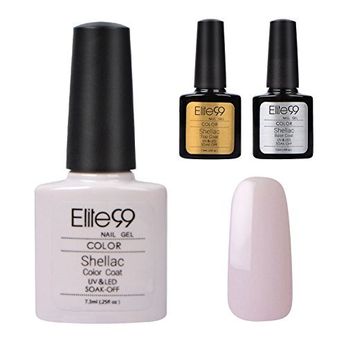 Elite99 Shellac UV LED Gel auflösbarer Nagellack 7.3ml Hell pink Nude NEU +Base Coat+ Top Coat, Nagelgel Farbgel Farblack (3 x 7.3ml)