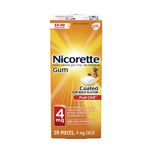 Nicorette 4 mg Nicotine Gum to Quit Smoking - Fruit Chill Flavored Stop Smoking Aid, 20 Count