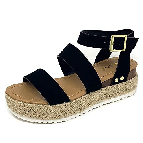 Soda Top Shoe Bryce Open Toe Buckle Ankle Strap Espadrilles Flatform Wedge Casual Sandal (6.5 M US, Black NBPU)