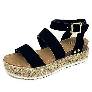 Soda Top Shoe Bryce Open Toe Buckle Ankle Strap Espadrilles Flatform Wedge Casual Sandal (9 M US, Black NBPU)