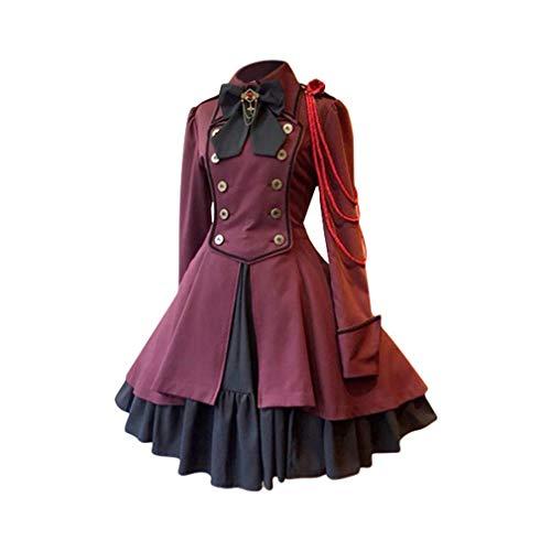 fengduo Mujer Medieval Lolita Vestido Gótico Steampunk Vestido de Uniforme Arco Solapa Dobladillo Irregular Vestido de Noche Ruffle Lace-up Plisado Vestido S-5XL