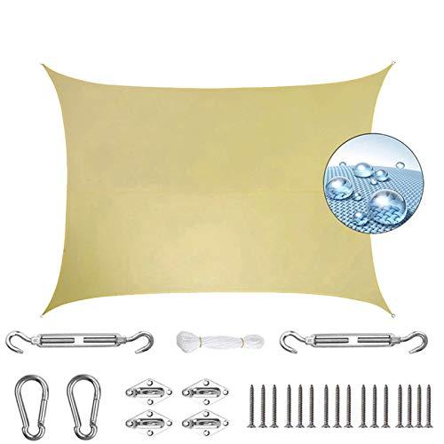 AMZERO Toldo Vela Rectangular 2.5x6m Toldo Vela IKEA Impermeable Exteriores Accesorios de MontajeTodo Incluído para Jardín Patio Terraza Balcón, Beige