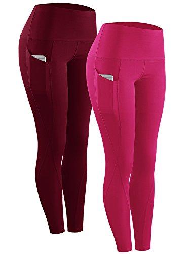 Neleus 2 Pack Tummy Control High Waist Running Workout Leggings,9017,2 Pack,Red,Rose Red,US XL,EU 2XL