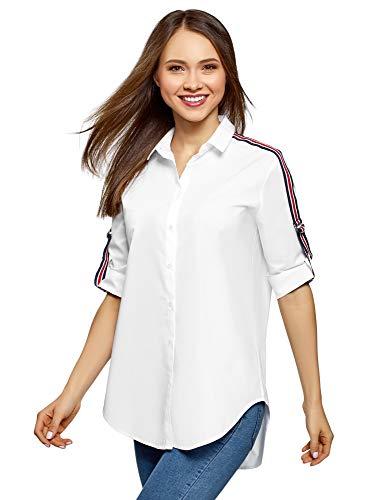 oodji Ultra Damska bawełniana koszula w stylu oversized, biały (1000B), L