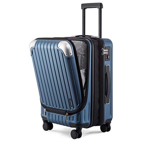 LEVEL8 Equipaje de Mano 24', ABS+PC Expansible Maleta Cabina con Cerradura de Seguridad con Combinación TSA con 8 Ruedas, Maleta para Viajes, Maleta de Cabina 37x55.5x25 cms, 42L, Azul