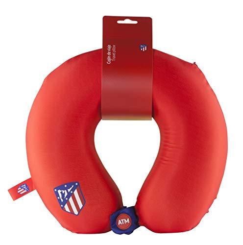 Atlético de Madrid Cojín Cervical de Viaje - Producto Oficial del Equipo, Relleno con Espuma de Memoria, Acabado de Algodón, y Cierre con Botón para Asegurar su Posición