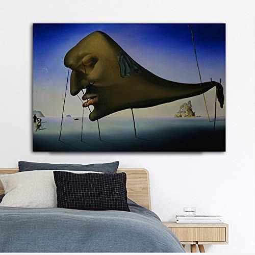 Frameloos Abstract gezicht Salvador Dali Artwork Canvas schilderij Wall Art foto voor woonkamer posters en prints Home Decor <> 40x60cm