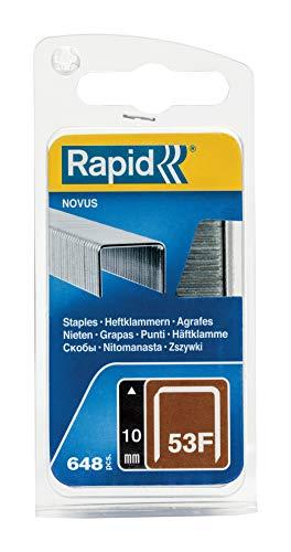 Rapid 5000557 Tackerklammern Typ 53F, 10mm Klammern, 648 Stk., Flachdrahtklammern für Novus Hand- und Elektrotacker