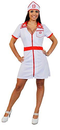 I LOVE FANCY DRESS LTD Déguisement pour Femme avec Cette Tenue d'infirmière Sexy Blanche et Rouge Comprenant Une Jupe Courte + Une Coiffe. Idéal pour Les enterrements de Vie de Jeune Fille. ( Large )