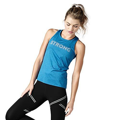 STRONG by Zumba Strong ID Top Dos Nu Active Haut de Sport Femme Fitness D'entraînement SbZ Open Back Tank, Azul, S para Mujer