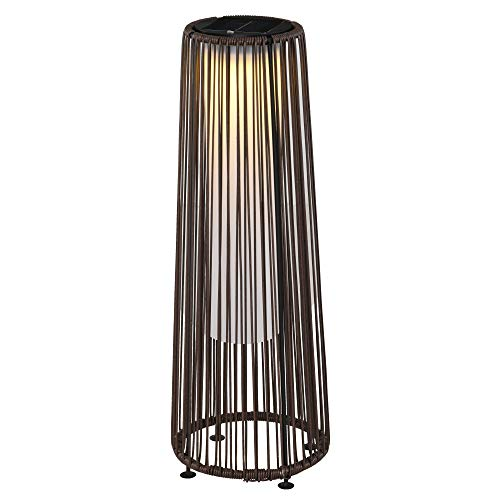 Outsunny Patio Garden Solar Lights Woven Resin Wicker Lantern Auto On/Off Solar Powered Lights for Porch, Yard, Lawn, Courtyard, Indoor & Outdoor Brown