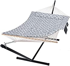SUNCREAT Outdoor Double Hammock with Stand, Two Person Cotton Rope Hammock with Polyester Pad, Circle Pattern