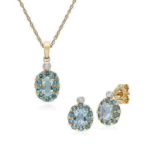 Gemondo in oro giallo 9carati con topazio blu ovale e diamanti a grappolo orecchini & 45cm collana set