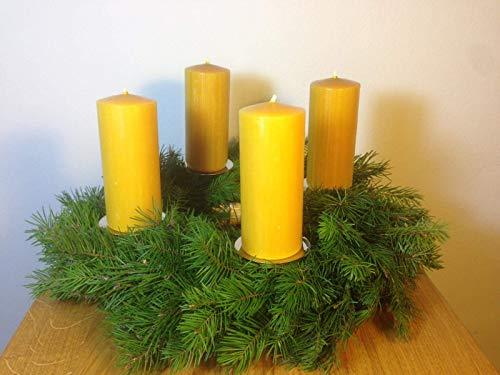 4 Stück Kerzen für den Adventskranz aus 100{f85c6c7e772a76f8cc79a5232961312b02b954f66851e9802eef25f60cfa6d8d} Bienenwachs, 12 x 5 cm, Stumpen, handgemacht, Bienenwachskerze,gegossen, direkt vom Imker aus Deutschland, Bayern, von der Bienenbude.