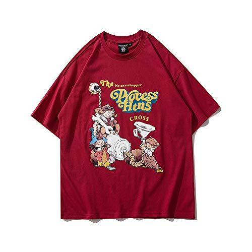 DREAMING-Sudadera de Verano de Manga Corta con Camiseta de algodón de Cuello Redondo Estampada Suelta para Hombres y Mujeres Camisas de Parejas L