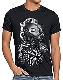 style3 Marilyn Tattoo 'No Pain' Camiseta para Hombre T-Shirt Rock Monroe tatuar USA, Talla:L