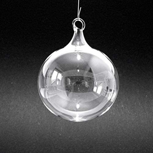 2 Stück Christbaumkugeln aus Klarglas, Christbaumschmuck, Weihnachtskugeln, transparent, 6 cm, Lauscha, Handarbeit
