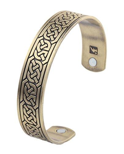 Pulsera magnética para el cuidado de la salud con tachuelas vikingas brazalete de terapia magnética para hombre (bronce antiguo)