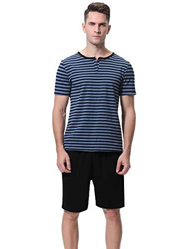 Aibrou Pijama Hombre Corto Raya Verano Set,Pijama Algodón Camiseta y Pantalones Suave Comodo Ropa de Dormir para Hombre S-XL
