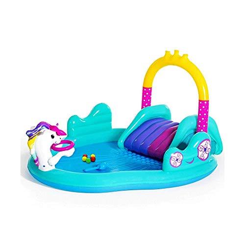 Z-Color Castillo Hinchable Unicornio con Slide - Juego Inflable Centro Agua Inflable al Aire Libre Piscina for niños Patio de Niños Niñas Agua Diversión