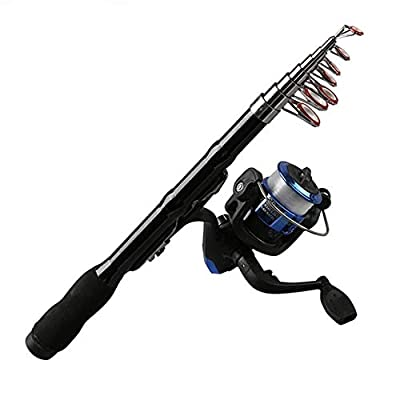 NOLOGO Js-mlq Mini Portable Telescopic Fishing Rod Rotating Carbon Fish Hand Fishing Tackle sea Rod sea Rod Fishing Rod 1.0M