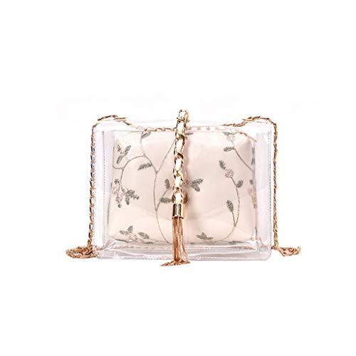 %39 OFF! Ikevan_ Clear Shoulder Bag Chain Strap Retro Waterproof Flower Leather Handbag for Purse Sunglasses Phone (White)