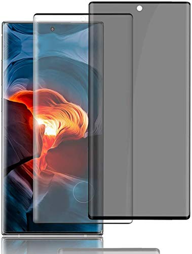 """[2 Pack] Galaxy Note 10 Plus Privacy Screen Protector + Note 10 Plus HD Screen Protector [Fingerprint ID Support] [3D Full Coverage] [Anti-spy] Tempered Glass Film For Samsung Galaxy Note 10+ (6.8"""")"""