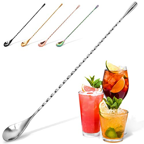 Zulay Premium 12 Inch Stainless Steel Cocktail Spoon, Long Attractive Spiral Design Perfect for Mixing and Layering Drinks, Bar Spoon & Cocktail Mixing Spoon for Cocktail Shakers, Tall Cups & Pitchers