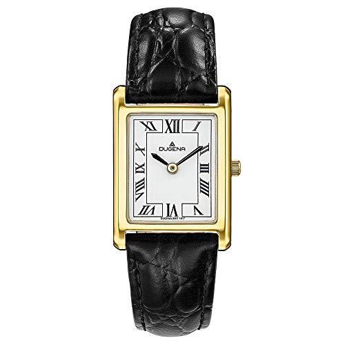 DUGENA Damen-Armbanduhr 4460725 Quadra Classica, Quarz, weißes Zifferblatt, Edelstahlgehäuse, gehärtetes Mineralglas, Lederarmband, Dornschließe, 3 bar